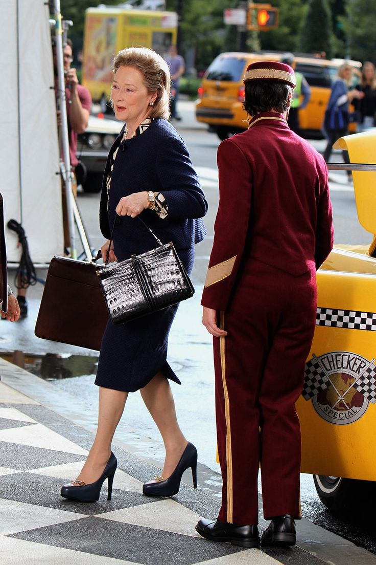 "Meryl Streep on the Set of ""The Papers"" in NYC 
