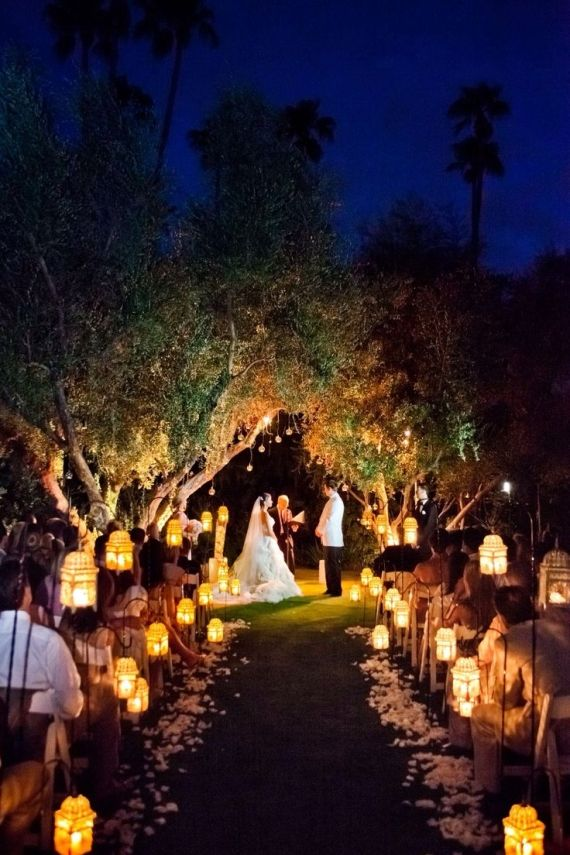 moroccan style lanterns for aisle decor - night wedding ideas