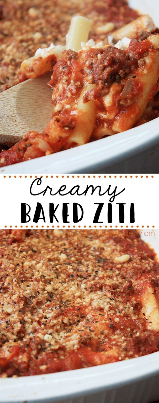Creamy Baked Ziti - a total family favorite dinner! Layers of ziti pasta, meat sauce, mozzarella, provolone, and sour cream - absolutely delicious!