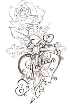 Cross-With-Heart-And-Rose-Tattoos-Design.jpg (236×359)