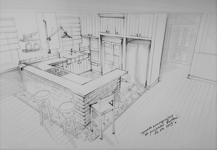 Kitchen in a big country house, design and illustration : Maagdalena Sobula , Pracownia Projektowa Pe2