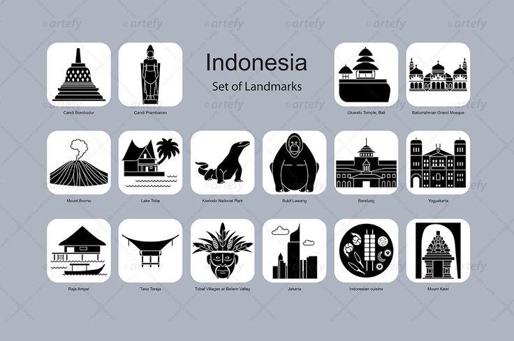 Indonesia landmark icons (16x) by Artefy's Graphic Bar on @creativemarket