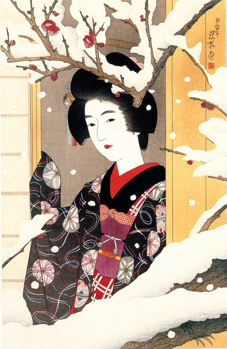 Image result for Japanese art plums in snow