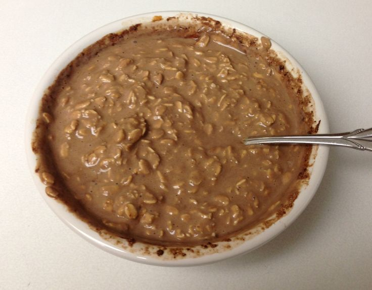 Chocolate OVERNIGHT Oats ¼ cup rolled oats or steel-cut oats, or some combination of the two ½ scoop chocolate protein powder 1 tbsp chocolate pb2 1 tbsp natural peanut butter ½ cup unsweetened almond milk