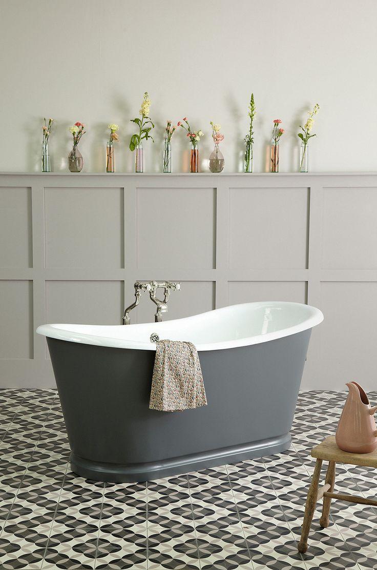 The la rochelle french bateau bath painted in down pipe farrow ball