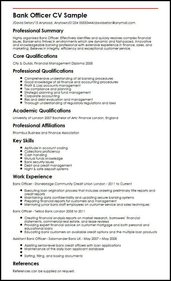 Bank Officer Cv Sample Myperfectcv Bank Employee Myperfectcv Officer Sample Bankanges Good Resume Examples Bank Jobs Job Resume