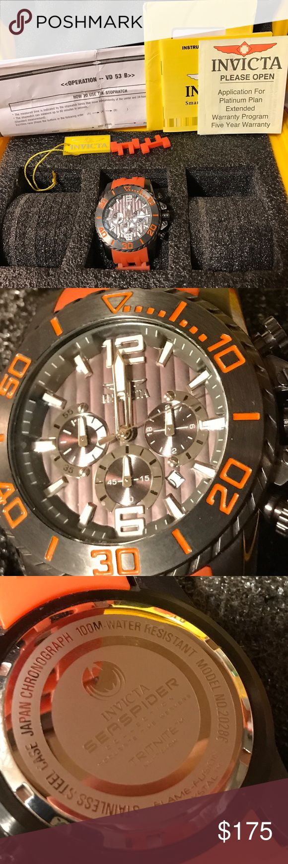 Orange Invicta Sea Spider with 3-slot dive case Worn once or twice and only for a few hours. 2 links were removed but are included.   Invicta Sea Spider  model 20286  Men's Watch  Movement Components: Japan Caliber: VD53  Band Material: Polyurethane, Stainless Steel Tone: Orange, Gunmetal Length: 215mm Size: 26mm Buckle: Regular Clasp: Regular  Case and Dial Case Size: 50mm Case Material: Stainless Steel Bezel Material: Stainless Steel Bezel Color: None Crown Type: Push Crystal Type: Flame…