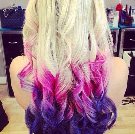 dip dye hair purple and pink - photo #12