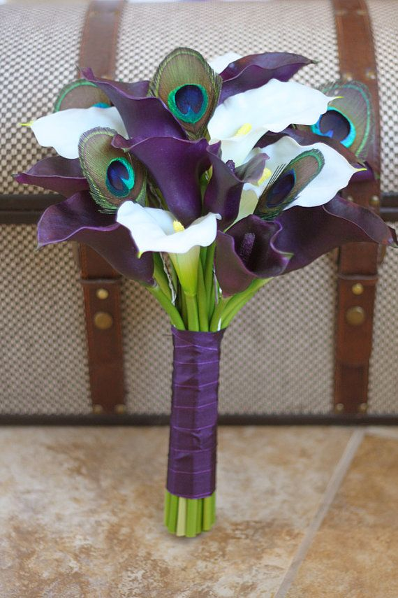 gorgeous! $100 MADE TO ORDER - Peacock Bridal Bouquet Natural Touch Plum and White Calla Lily