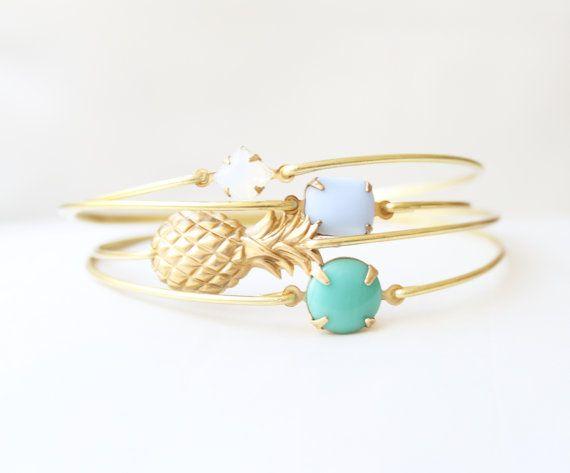 Pineapple Princess Bangle Set, Fruit Bracelet, Beach Bracelet, Tropical Jewelry, Summer Charm Bracelet, Stackable Bangle
