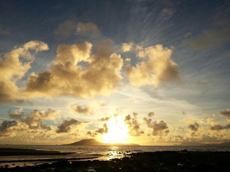 Sunset over Clare island from Bunowen, County Mayo.