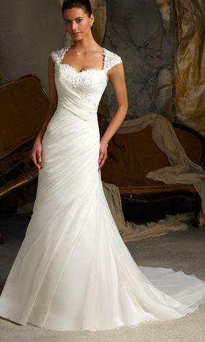 Mermaid wedding dress with cap sleeves