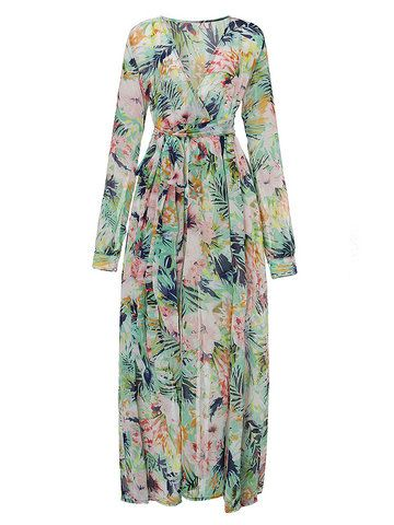 Elegant Women Printed Long Sleeve Bohemian V Neck Chiffon Maxi Wrap Dress