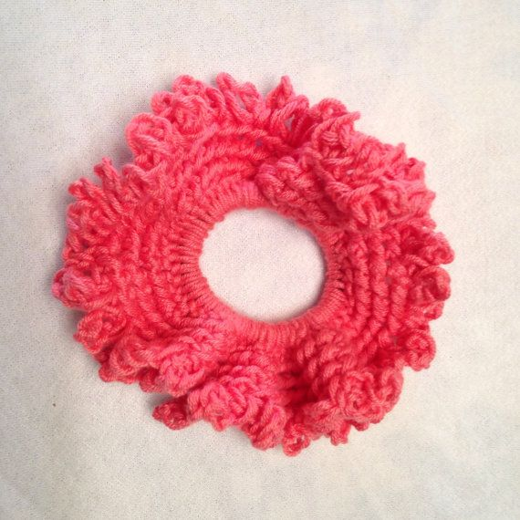 Large Peach Hair Scrunchie by WheresTheYarn on Etsy