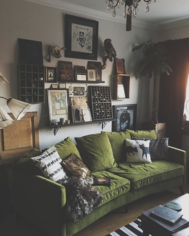 Instagram Post By Thistlemilk Dark Living RoomsVintage RoomsLiving Room GreenBoho