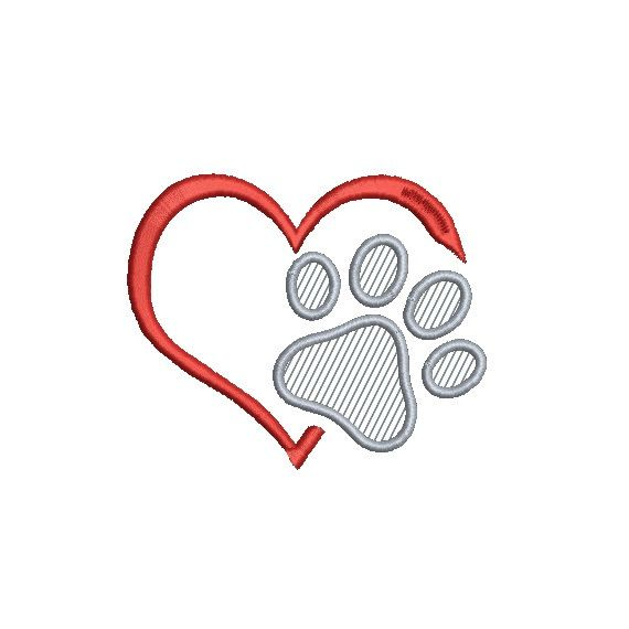 Applique Paw Print in Heart Embroidery Design in 4 Sizes