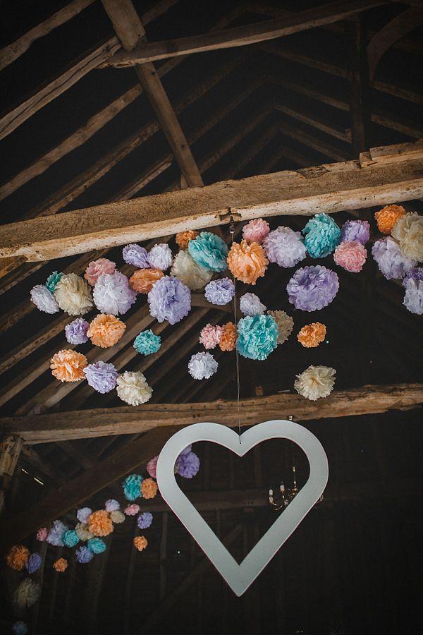 Rustic barn wedding / pom poms