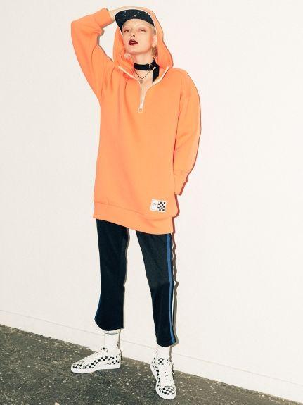 HALF ZIP SWEAT HOODIE DRESS(ミニワンピース)|X-girl(エックスガール)|ファッション通販 - ファッションウォーカー