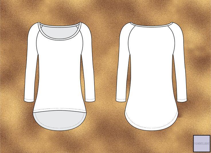 Black and white Raglan Shirt technical drawing / Flat sketch on gold metallic background