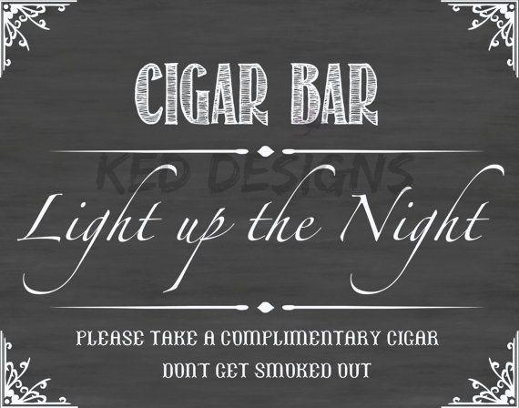 Printable-Instant download-Cigar Bar-Display Sign-Wedding-Baby Shower-Man…