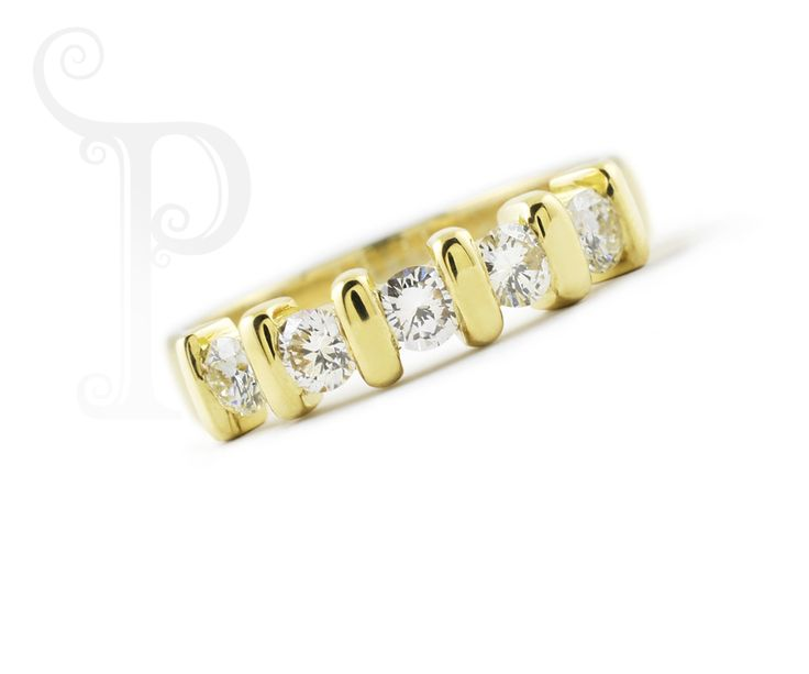 Handmade 18ct Yellow Gold Tension Set Eternity Band , Set With Round Brilliant Cut Diamonds. Also Available In 18ct White Gold & Rose Gold