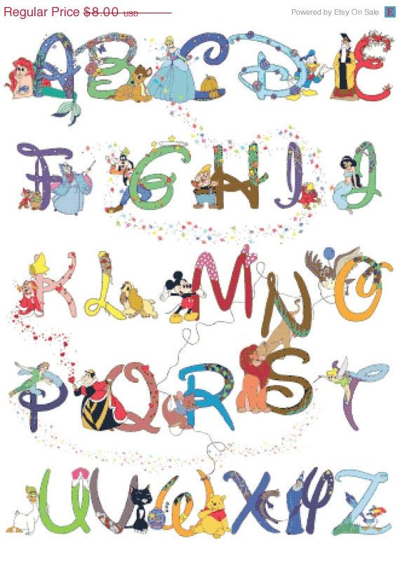 "Counted Cross Stitch Patterns - Alphabet Disney characters - 23.64"" x 32.36""…"