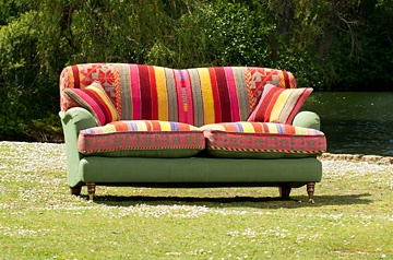 sofa in Bolivian textile