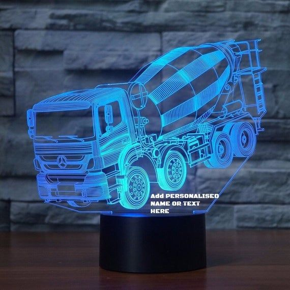 Mixer Truck 3d Illusion 7 Colors Changing Led Lamp With Remote Controller Handmade Can Be Personalised With Name Or Text Message Fa Led Lamp 3d Led Lamp Lamp