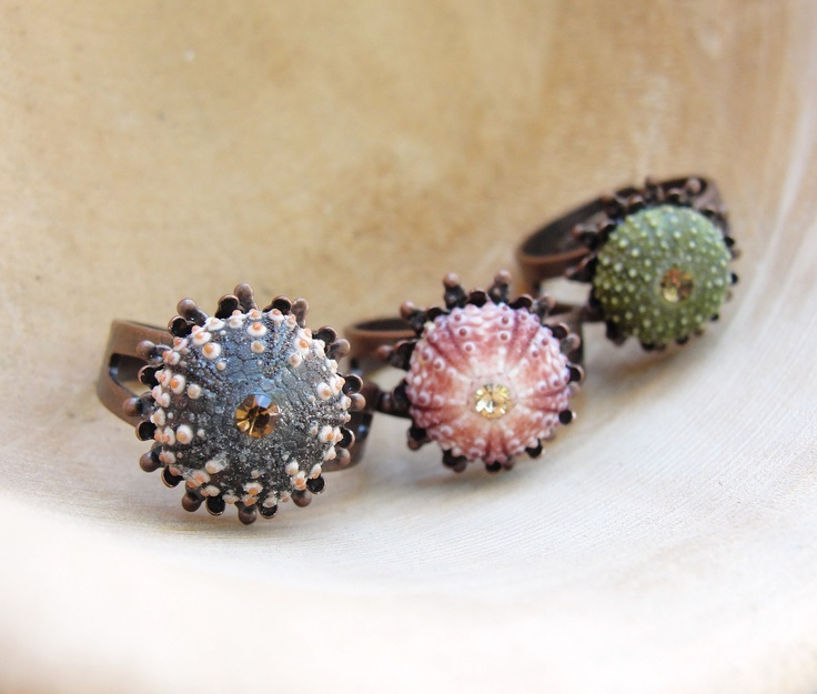 Sea Urchin Ring - Mini Copper Ring - Pink Green Brown - Pick Your Color. $37.00, via Etsy.