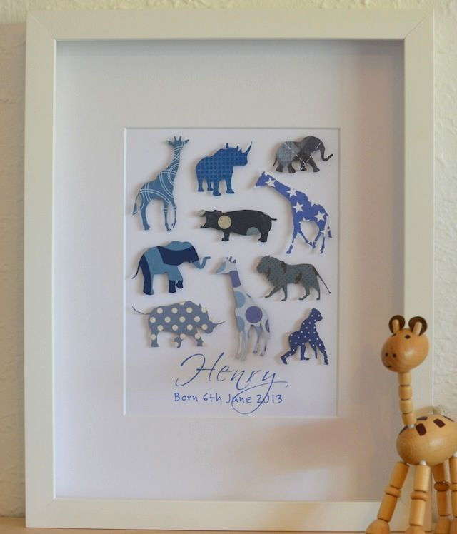 33 best boys personalised paper art images on pinterest shadow safari animals themed jungle personalised baby gift bespoke negle Image collections