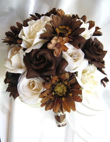 17pc Bouquet wedding flowers centerpiece CREAM BROWN....never thought of these colors