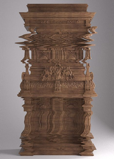 This is not a distorted digital photo - it's a cabinet that's been intricately carved to look like one.