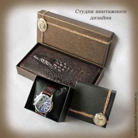 """Купить Подарок мужчине Набор """"Клач +часы"""" - клатч, клатч мужской, клатч из натуральной кожи"""