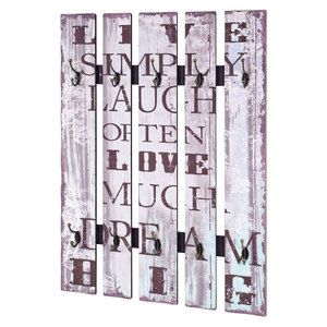 patre murale lames de bois 10 ttes 70x9x100cm vintage - Patere Colore