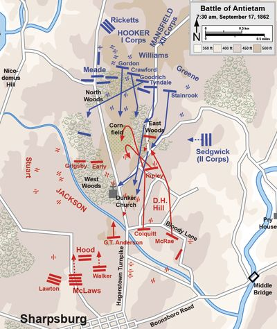 Battle of Antietam - second phase. Jack and Jovie's division (under McLaws) arrive at 7:00. Battle for Dunker church and cornfield. Fighting continued here until about 10:00am. Casualties equaled 13,000.