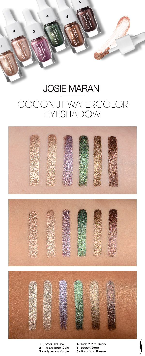 New Josie Maran Coconut Watercolor eyeshadow swatches. Playa Del Pink, Rio De Rose Gold, Polynesian Purple, Rainforest Green, Beach Sand, Bora Bora Breeze