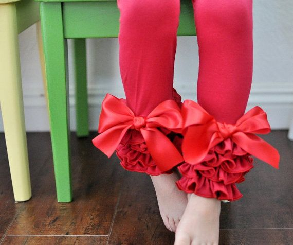 gorgeous ruffle and bow tie leggings, up to girls size 12,  Red Leggings with Full Ruffles and Large Bows / by LilDimples