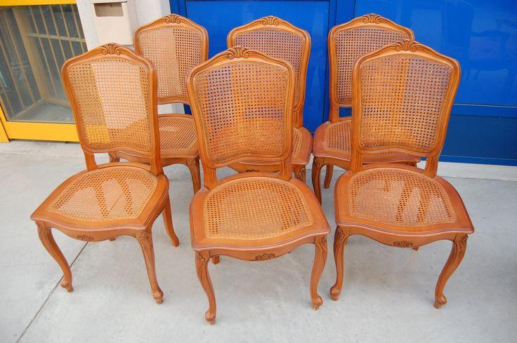 6 sedie in ciliegio massello con seduta e schienale in paglia di Vienna
