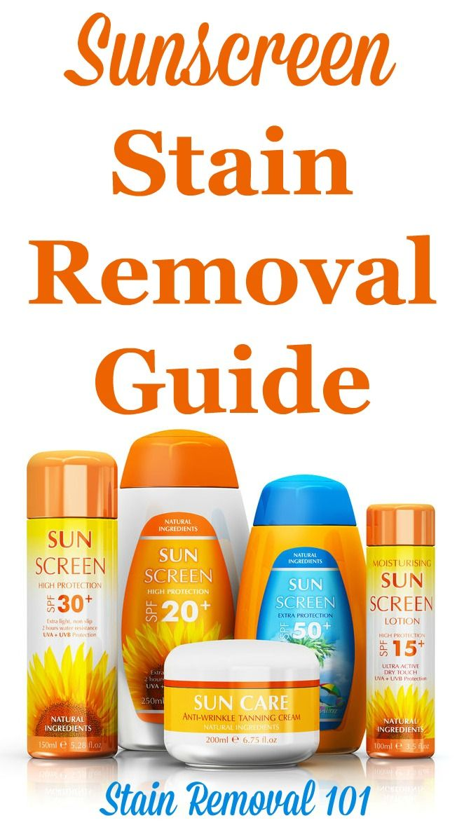 How to remove sunscreen stains from clothing, upholstery and carpet, with step by step instructions. Includes special instructions for removing the orangish spots some sunscreens cause. {on Stain Removal 101}