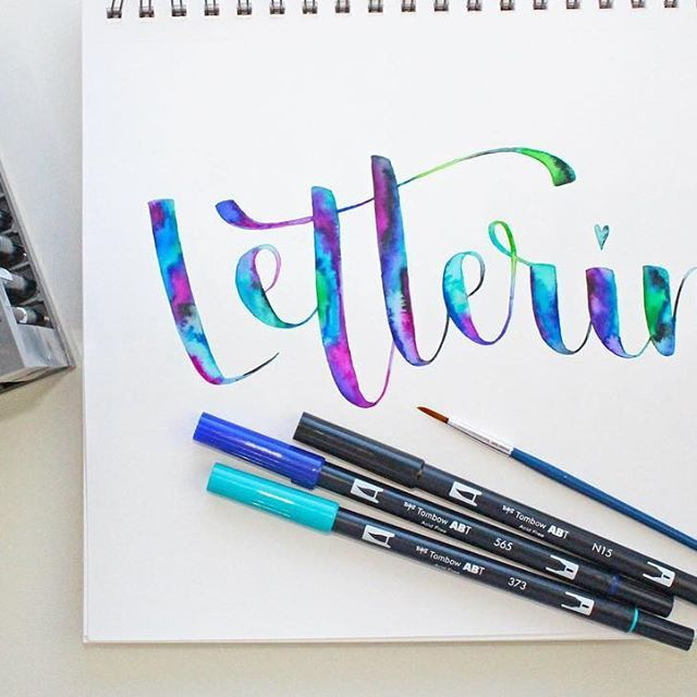 Watercolor Lettering Using Dual Brush Pens From Tombow Tombow