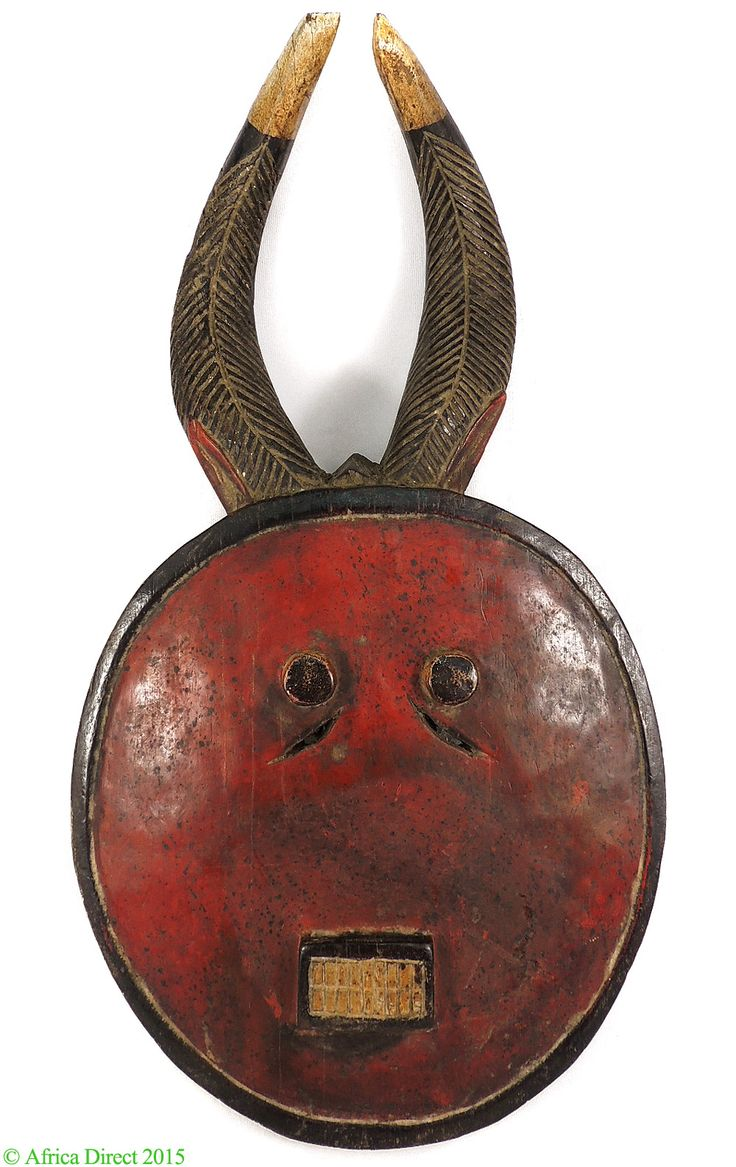 Baule Kple Kple Mask Red with Horns Cote d'Ivoire Africa - Baule, Guro - African Masks