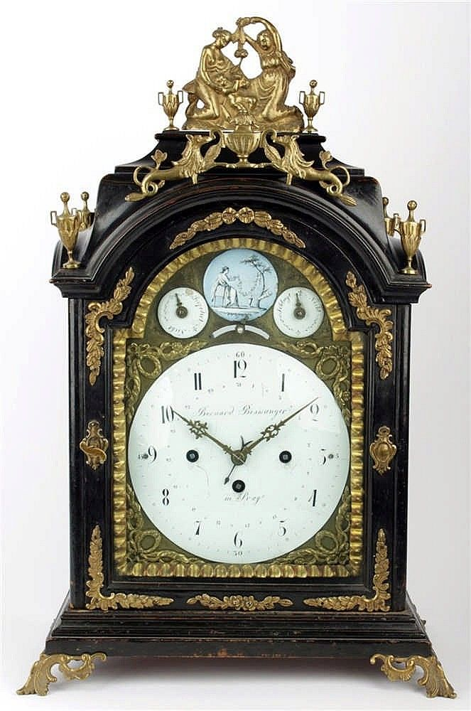 Bohemia, Prague, circa 1770, baroque mantel clock, white enamel dial labeled Bernard Biswanger in Prag, wood, black stained, original brass applications, verge escapement, Viennese grande sonnerie on bells, movement in working condition, dimensions 55 x 35 x 20 cm. <br>  <br>  <br>  <br> Literature: A similar clock by Bernard Biswangera reproduced in the book Clocks and Watches, Emanuel Poche, Libuše Urešová, Prague 1987, page 163, picture no. 15. <br>  <br&g...