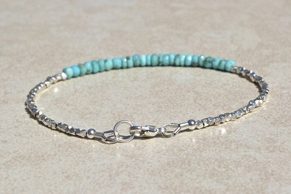 Turquoise Sleeping Beauty Bracelet, December Birthstone, Beaded Bracelet, Gemstone Bracelet, Natural Turquoise Birthstone, Gift for Her  This beautiful bracelet is made from Sleeping Beauty Turquoise and Karen Hill Tribe silver faceted beads. The Turquoise is a gorgeous shade of robins egg blue. This bracelet is great for layering with other bracelets or wearing alone. Turquoise is Decembers Birthstone. Karen Hill Tribe Silver is special. These silver beads are handmade by the Karen Hill…
