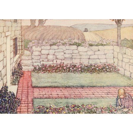 The Childrens Book of Gardening 1909 A Cornish cottage Canvas Art - Winifred Cayley-Robinson (18 x 24)