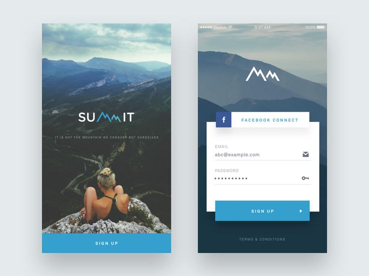 Splash and Signup Screen - Summit iOS App