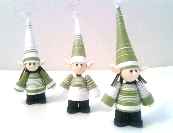 Elf Christmas Ornament Paper Quilled Set in Sage Green. $49.00, via Etsy.