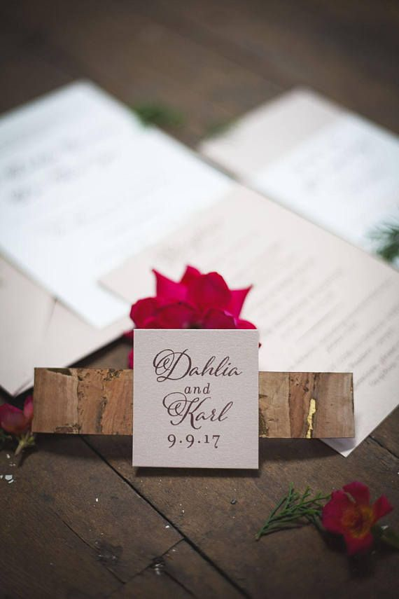 Cork belly band that ties around the invitation, information card, rsvp card and envelope!