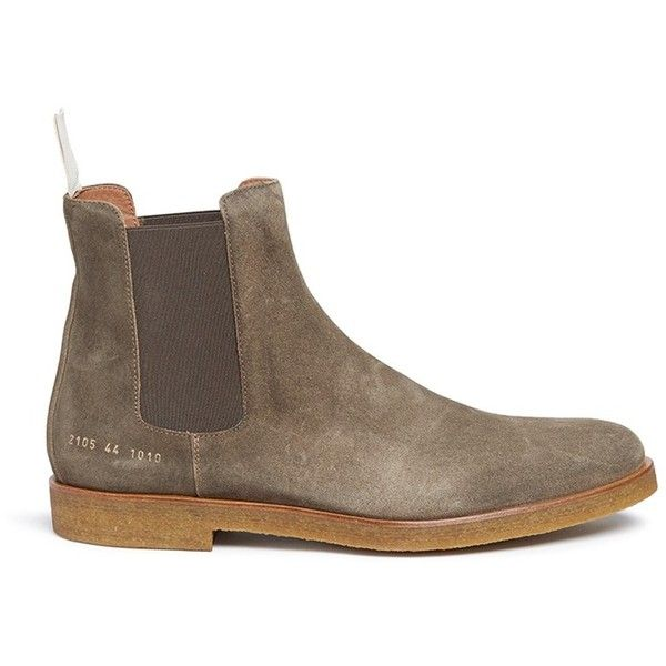 Common Projects Suede Chelsea boots (€485) ❤ liked on Polyvore featuring men's fashion, men's shoes, men's boots, green, men's pull on boots, mens slip on boots, mens suede slip on shoes, mens suede boots and mens green shoes