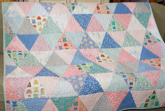 Modern Triangle Quilt  Blanket Bedding Moda Cape Ann in soft Pink White Blue Aqua Green with Flannel Backing via Etsy