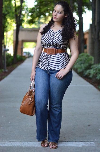 Plus size fashion - belted long tops over jeans ❤.   Love this casual look